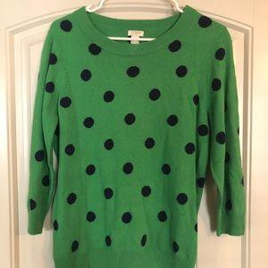 Green polka dot sweater from J Crew